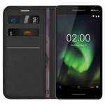 Leather Wallet Case Stand & Card Holder Pouch for Nokia 2.1 - Black